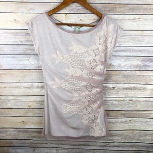 Anthro | Bordeaux Mesh Overlay Lace Appliqué Top